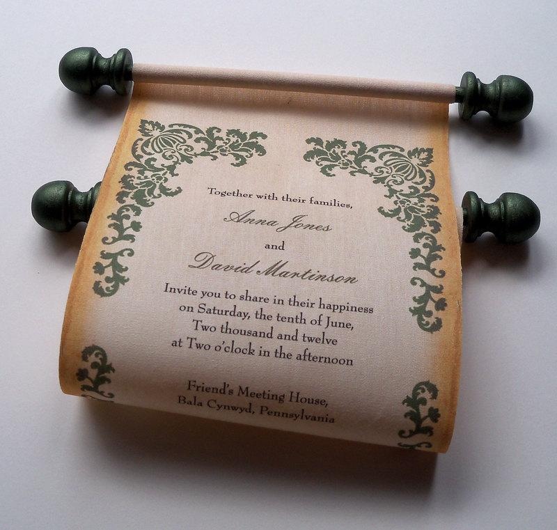 Hochzeit - Medieval Wedding Invitations, Damask Fabric Scroll, medieval castle manor invitation, wedding invitation scroll - 10