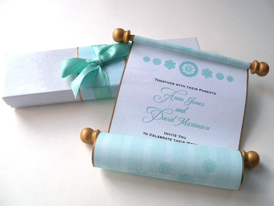 winter wedding invitation royal princess invitation aqua and gold wedding boxed wedding invitation suite fairy tale wedding set of 25