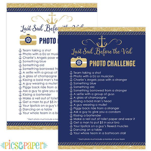 Navy And Gold Last Sail Before The Veil Bachelorette Party Photo Scavenger Hunt Game Nautical