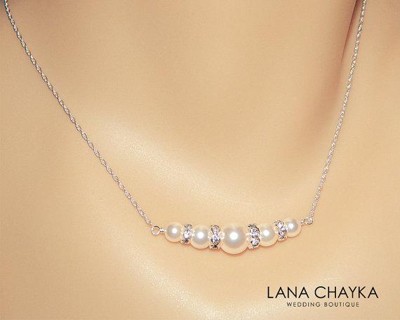 Ivory Pearl Bridal Necklace Cream Wedding Swarovski Chain Delicate Jewelry