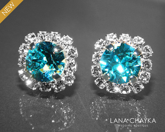Light Turquoise Crystal Halo Earrings Swarovski Rhinestone Hypoallergenic Earring Studs Teal Silver Bridesmaid Bridal