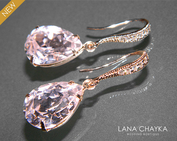 Light Pink Rose Gold Crystal Earrings Swarovski Rosaline Rhinestone Wedding Earring Bridesmaid Jewelry
