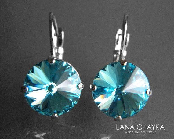 Wedding - Light Turquoise Crystal Earrings Swarovski Rivoli Silver Earrings Teal Crystal Leverback Earrings Hypoallergenic Earrings Wedding Bridesmaid