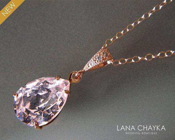 Light Pink Rose Gold Crystal Necklace Swarovski Rosaline