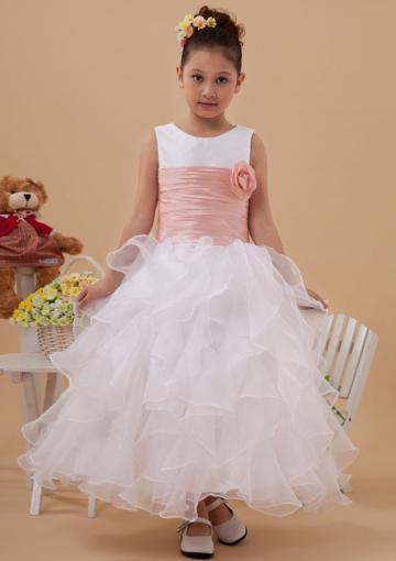 Wedding - Flowers Ribbon Sleeveless Tulle Ruffled Straps Zipper White Ruched Tea Length