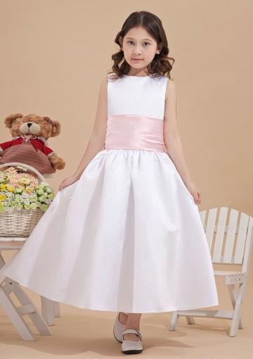Wedding - Bowknot Satin Sleeveless Straps Zipper White Ruched Tea Length