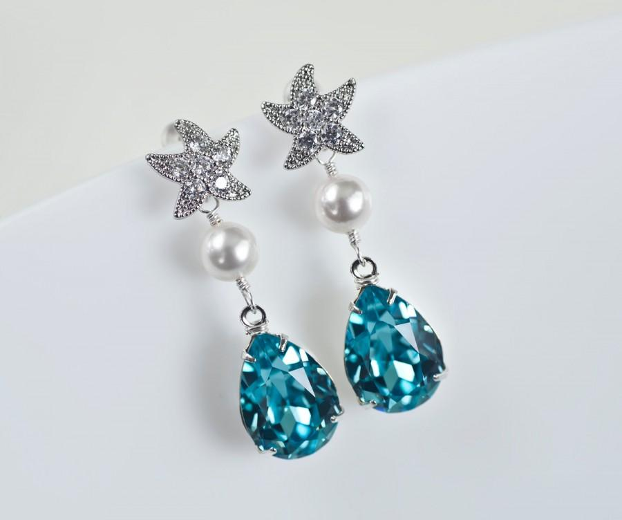 Starfish Cubic Zirconia Earrings And Turquoise Swarovski Crystal Teardrop Bridal Bridesmaids Beach Wedding