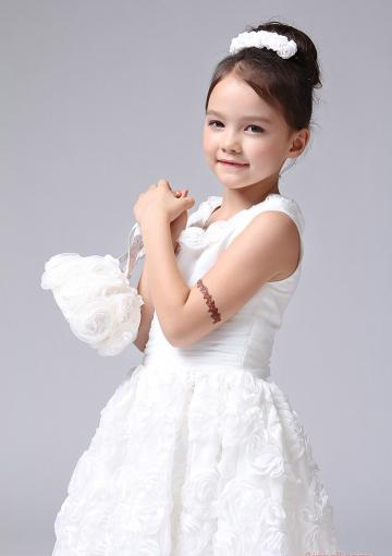 Wedding - Tulle Flowers White Scoop Ruched Tea Length Buttons Sleeveless