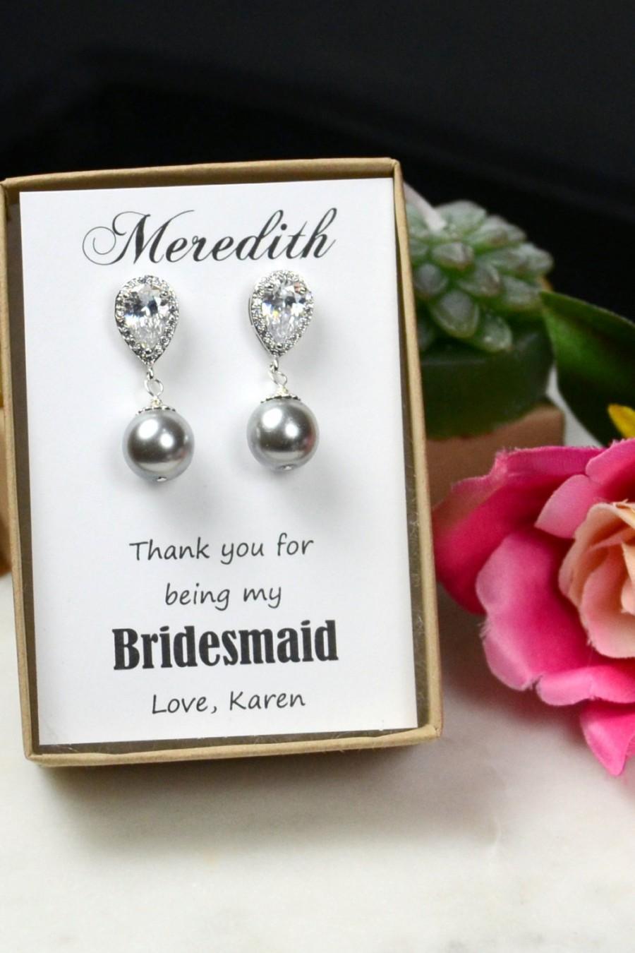 Wedding - Wedding Jewelry Bridesmaid Gift Bridesmaid Jewelry Bridal Jewelry Swarovski Round Pearl Drop Earrings Cubic Zirconia .Silver gray wedding