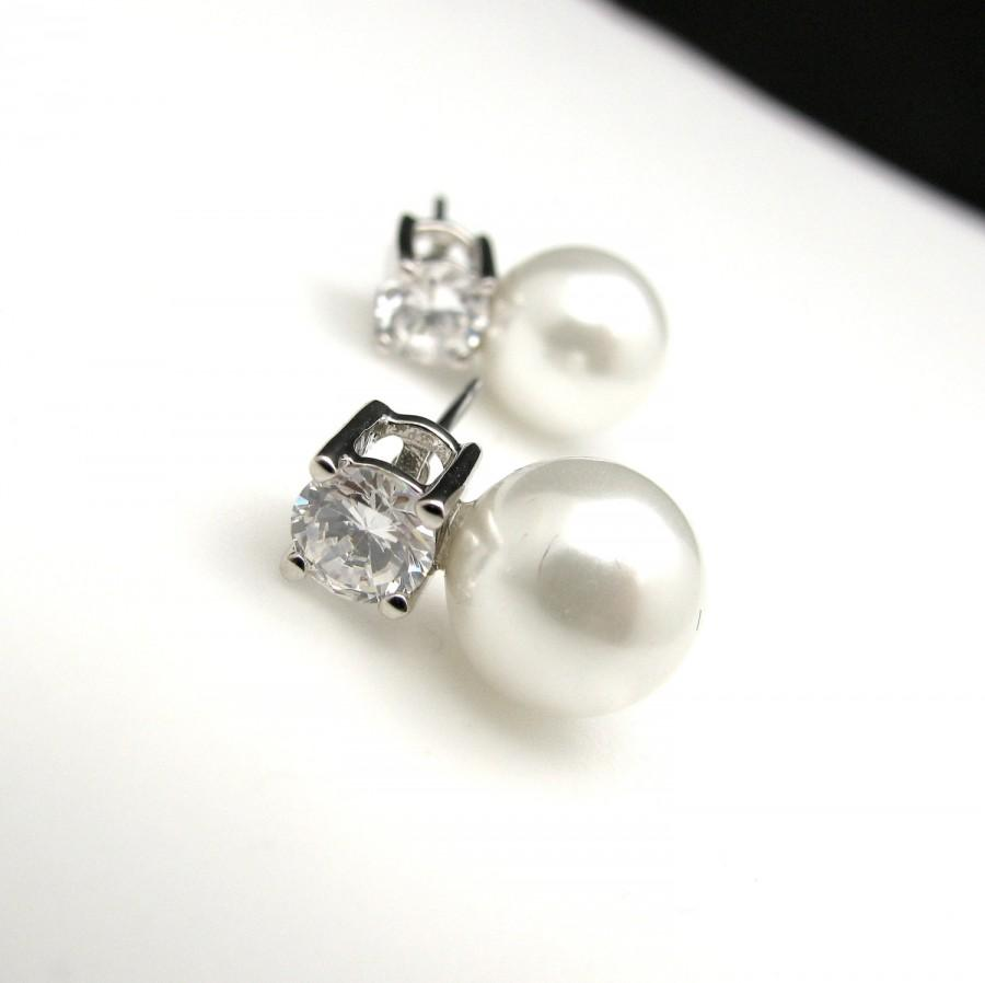 Wedding - Bridal Jewelry Bridal earrings bridesmaid gift wedding earrings soft white or cream pearl on round cubic zirconia earring rhodium post