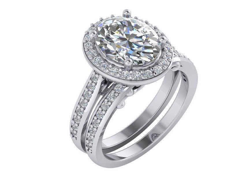 Wedding - Oval Engagement Ring ,Oval Moissanite Engagement Ring, Oval Halo Engagement Ring. Moissanite Engagement Ring in 14k White gold