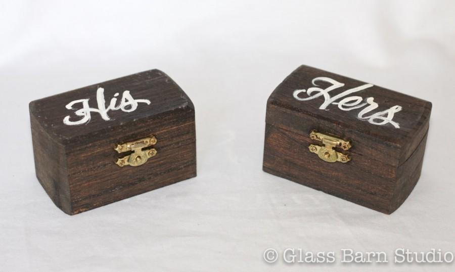 زفاف - Hand Lettered Ring Boxes, His & Hers Ring Boxes, Handmade Ring Box, Ring Bearer Boxes, Wedding Ring Boxes, Wood Wedding Ring Boxes