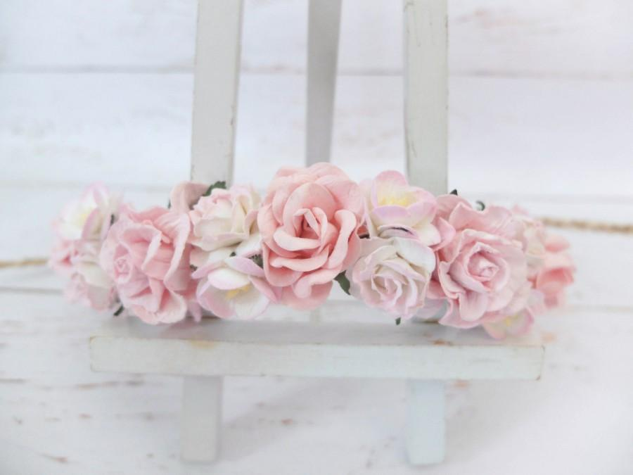 Light pink flower crown white and pink wedding floral hair wreath light pink flower crown white and pink wedding floral hair wreath headpiece hair accessories for girls garland mightylinksfo