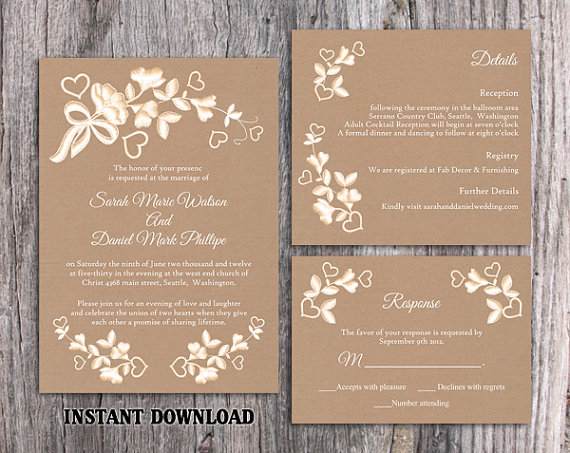 diy lace wedding invitation template set editable word file download printable rustic wedding invitation burlap vintage floral invitation - Rustic Wedding Invitation Templates