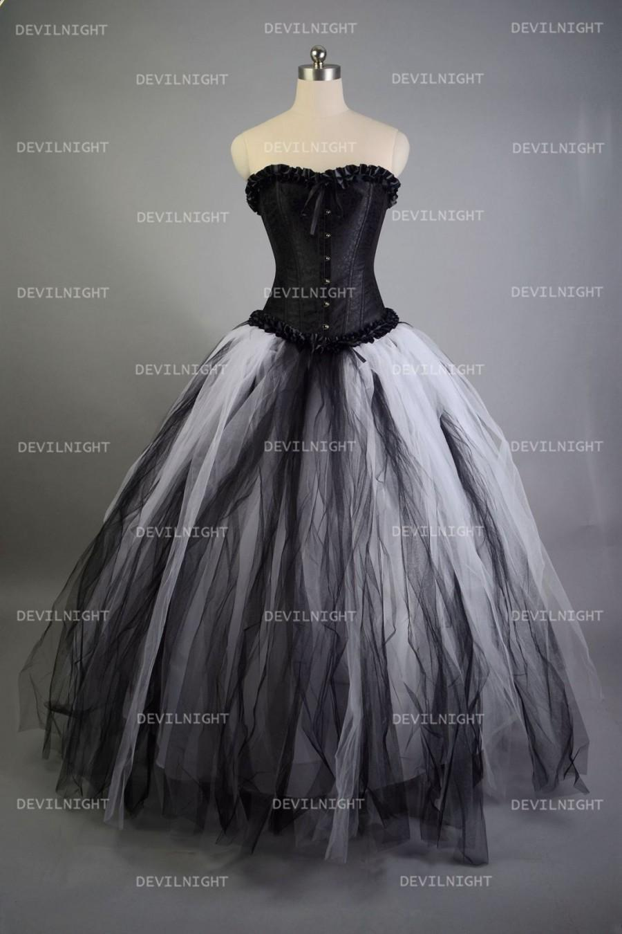 Wedding - Romantic Black and White Gothic Corset Long Prom Dress