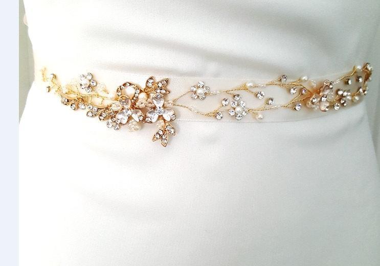 Mariage - Gold Bridal Crystal Sash. Rose Gold Rhinestone Pearl Applique Wedding Belt. Vintage Gold Belt-Style 780