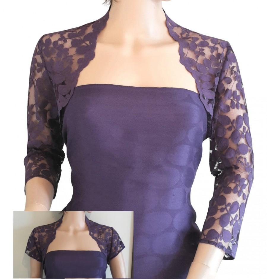 Hochzeit - Ladies Purple Grape Lace Bolero Gray/Shrug/Bolero 3/4 or Short Sleeve in Sizes UK 8,10,12,16 or 18