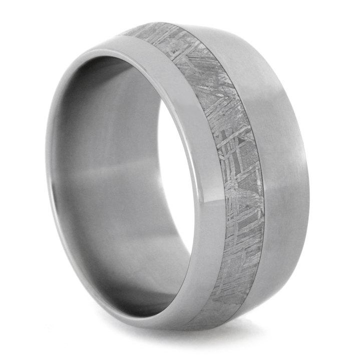 Wedding - Meteorite Titanium Ring with Polished and Matte Finish on Knife Edge Profile, Personalized Wedding Band