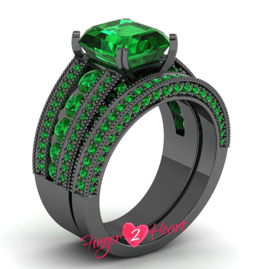 unique wedding ring set 310 ct green princess 925 sterling silver engagement ring set bridal band 10k black gold finish promise ring set - Black Gold Wedding Ring Sets