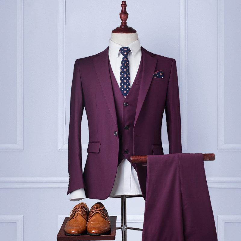Wool Man Sute Wedding: Custom Wedding Suit【Handmade】Men's Suits Wool Blend 3piece