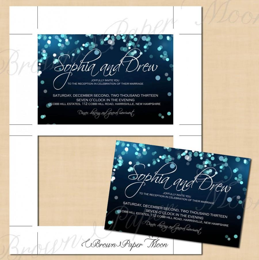 Mariage - Midnight Blue Night Sky Reception Invitation (6x4, Landscape): Text-Editable, Printable, Instant Download