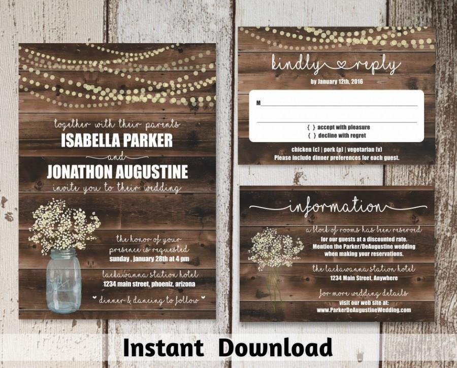 Wedding invitation template rustic printable set 2538022 weddbook wedding invitation template rustic printable set pronofoot35fo Images