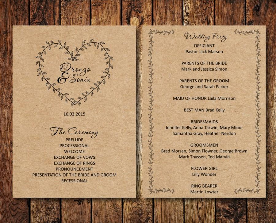 Editable Wedding Program Rustic Kraft Wedding Program Download