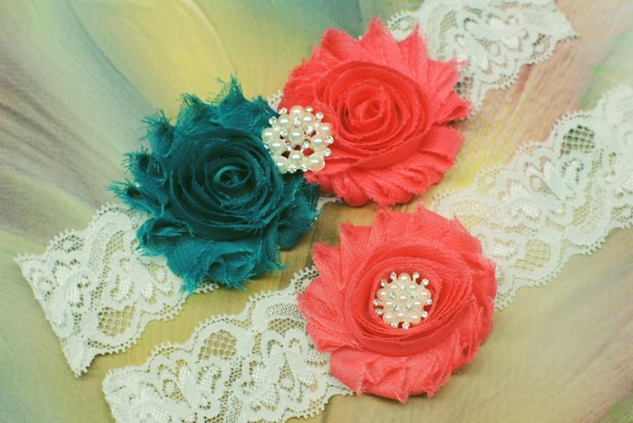 Hochzeit - Bridal Garter Coral Wedding Garter Set Lace Garter Wedding Garters Toss Garter Keepsake Garter Vintage Garter Teal and Coral Garter Set