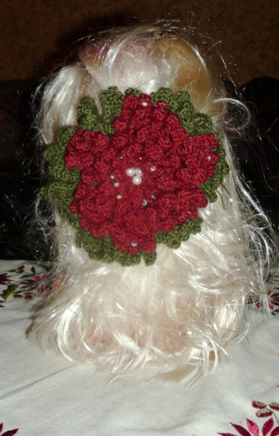 Hochzeit - Hair accessory,Hand Crocheted Big Flower Hair Clip,crochet hair accessory,big hair accessories, boho hair accessory, Shabby Chic