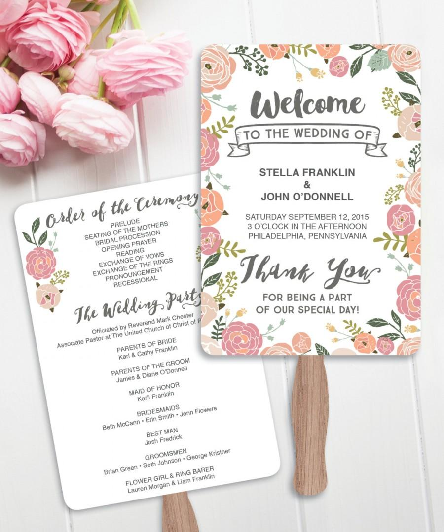 Wedding Fan Programs - DIY Printable - Vintage Rose Wedding ...