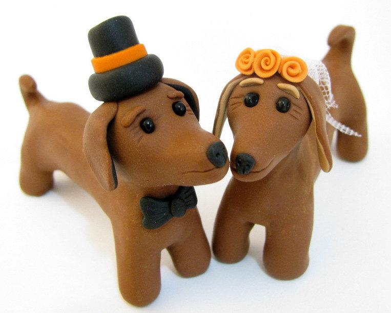 Свадьба - Dog love, Dachshund wedding cake topper