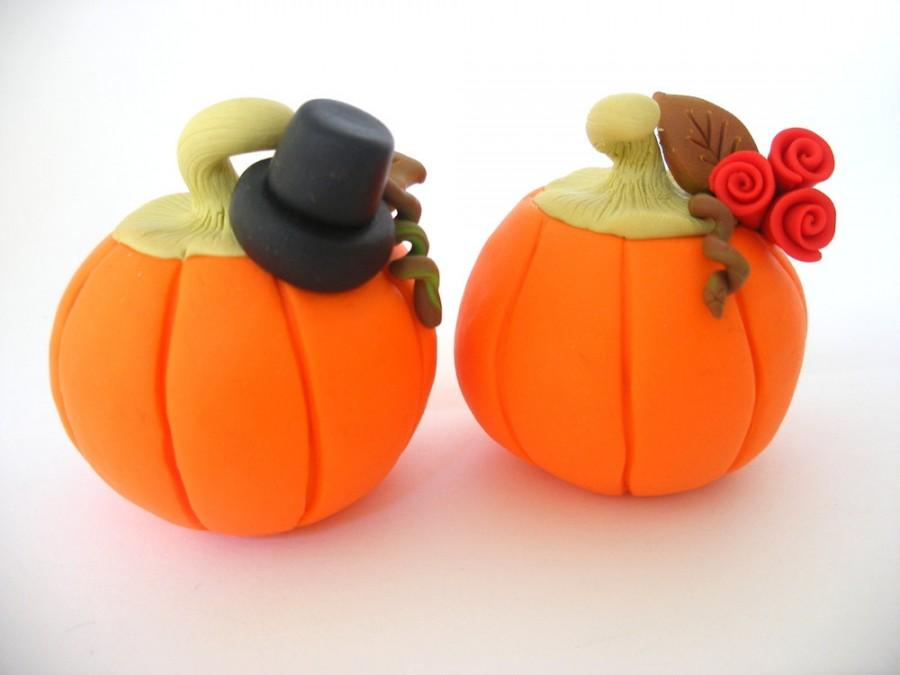 Mariage - Halloween Wedding cake topper, Autumn wedding, pumpkin bride and groom, fall