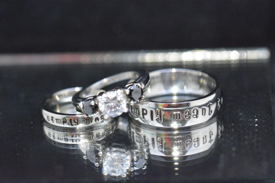 Mariage - 3 pc Simply Meant to Be couples set. White Sapphire CZ and Black CZ, Complete 3 Piece Wedding set ! Free inside engraving in bands!