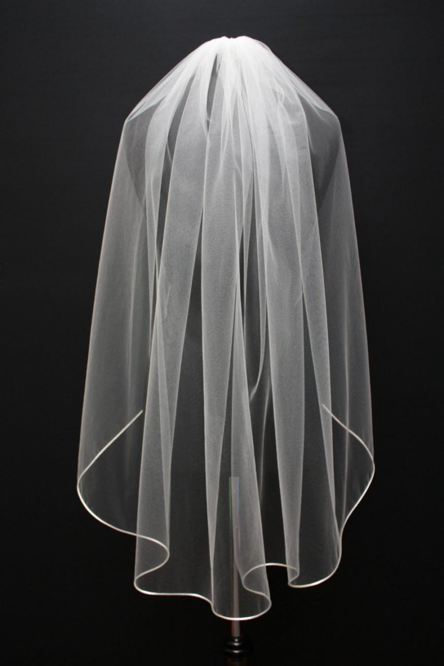 "Mariage - Fingertip veil with 1/8"" corded satin trim, Single layer, satin cord trim, Bridal veil, ivory veil, single tier."