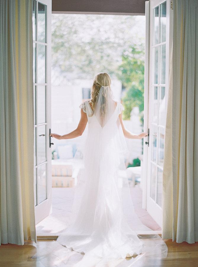 Hochzeit - Cathedral/ chapel wedding veil with blusher, ivory wedding veil, blusher veil, simple wedding veil, unique veil, Helena - Style V25