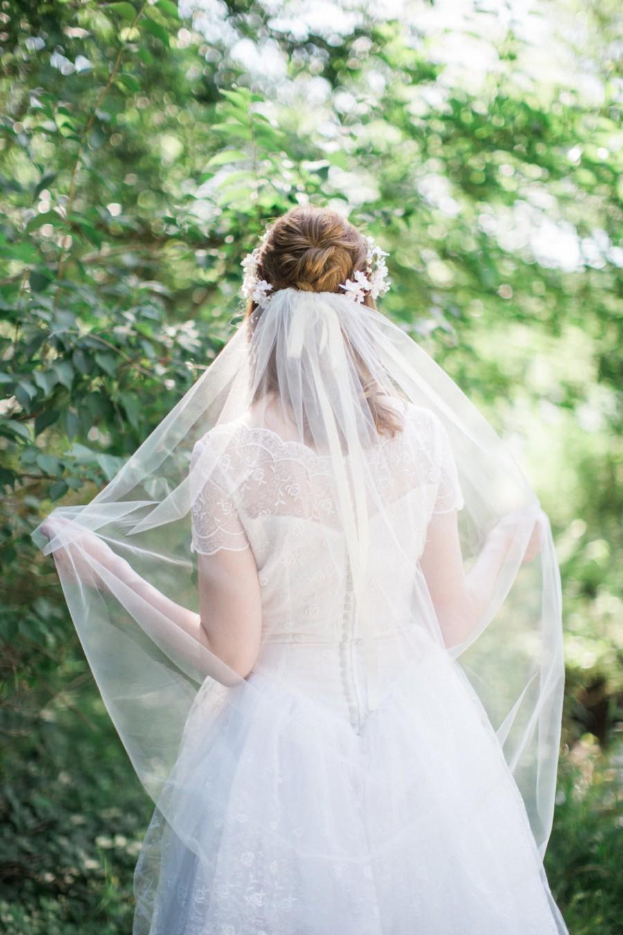 Hochzeit - waltz length veil, waltz veil, bridal veil ivory, bridal veil comb, wedding veil, wedding veil waltz, champagne veil, other color options