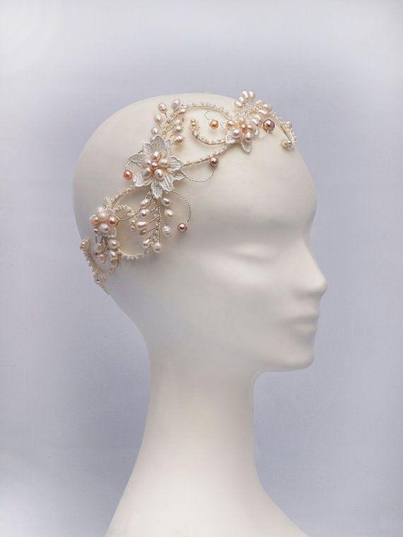 Wedding - Bohemian Bridal Hair Accessories, Boho Bridal Headpiece, The Evangelina Blush Bridal Halo Headpiece #200