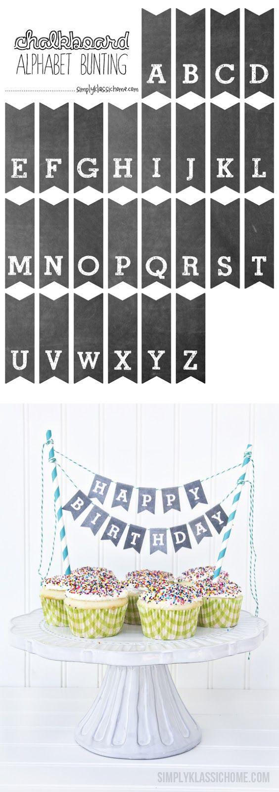 Mariage - Printable Chalkboard Letters Cake Bunting