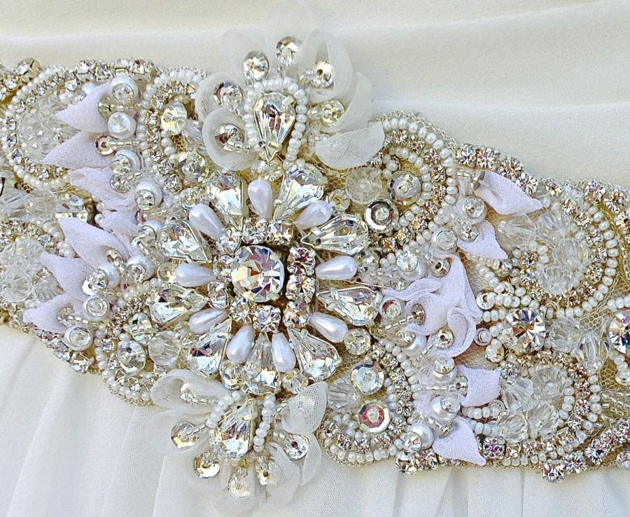 Beaded bridal sash wedding sash in pale champagne with for Pearl belt for wedding dress
