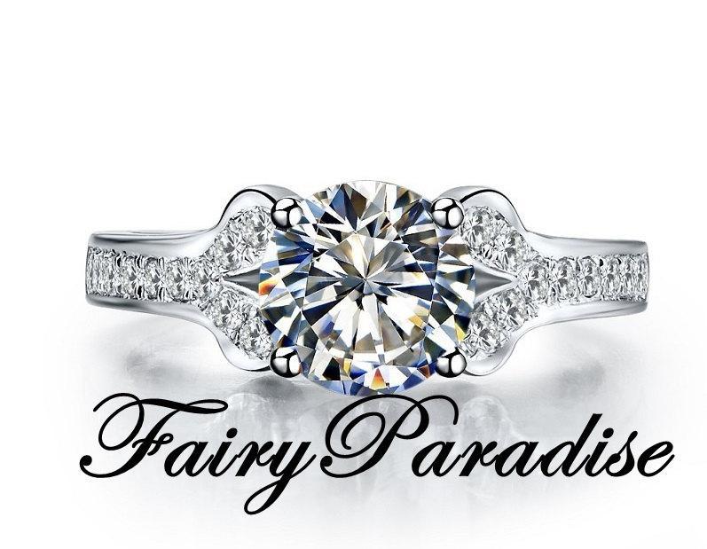 Mariage - 2 Ct Round Cut  Man Made Diamond,  Pave Split Shank Vintage Style Engagement Ring, Wedding Ring, Promise Ring