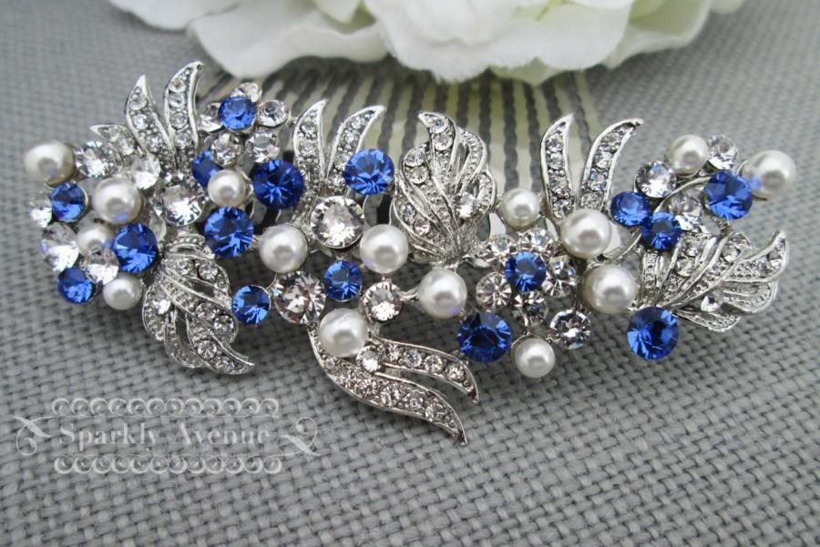 Mariage - Pearl and Rhinestone Hair Piece Wedding Blue Hair Comb Bridal Hair Comb Sapphire Swarovski Bridal Hair Blue Wedding Comb Vintage Greek Grace