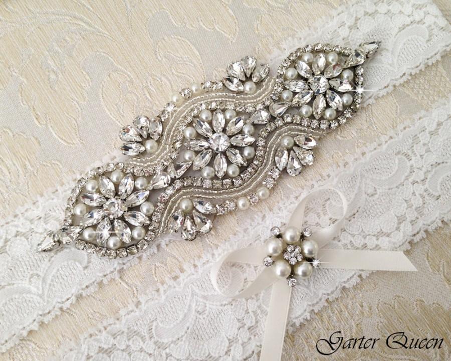 Свадьба - Wedding Garter Set, Bridal garter Set, Rhinestone Garter, Lace Wedding Garter, Crystal Garter, Ivory Lace Garter Set
