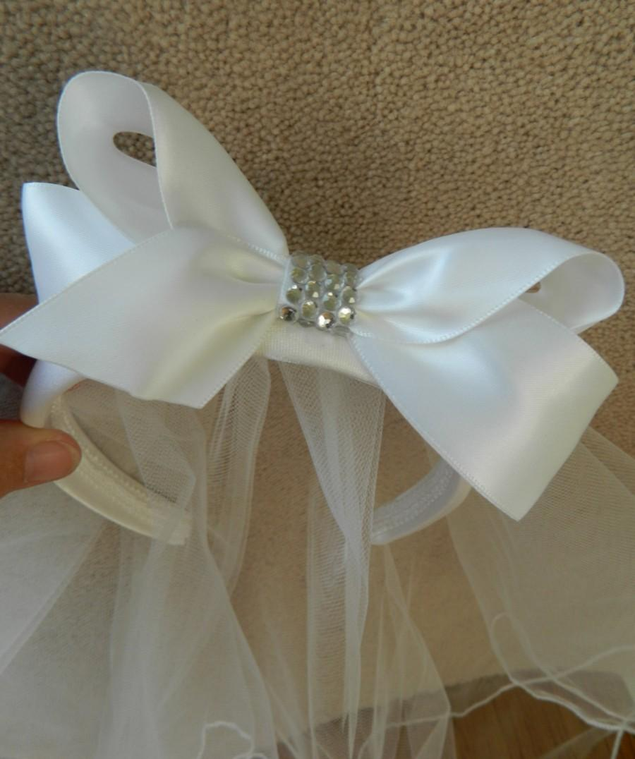 Mariage - White Satin Bow with Rhinestones on Satin Headband with edged white Veil  NEW