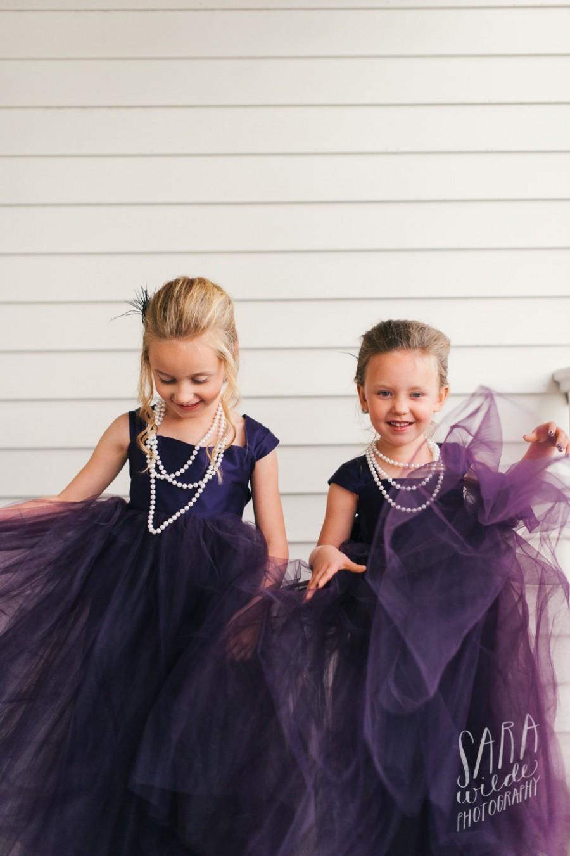 Свадьба - Plum Flower girl dress, floor length flower girl dress, tulle flower girl dress, baby girl party dress, eggplant dress, deep purple dress