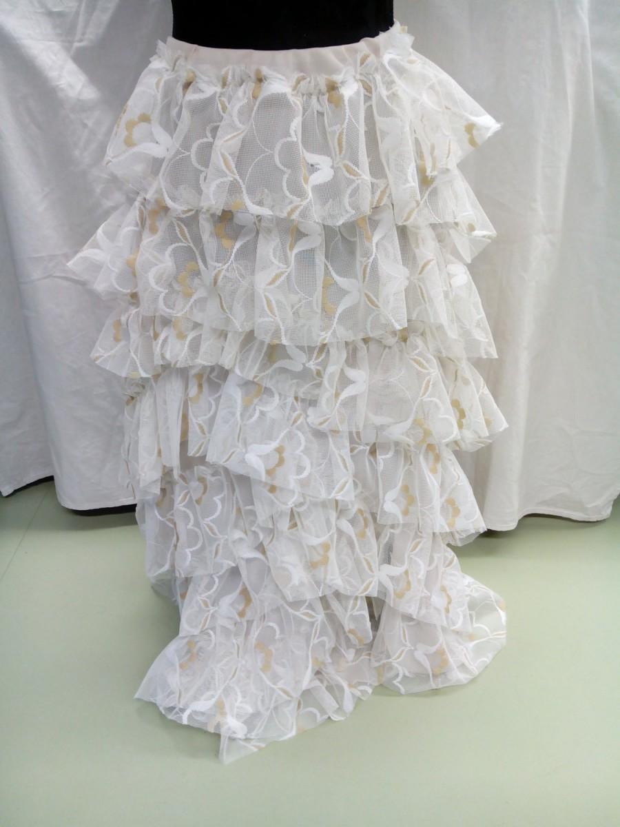 Mariage - Summer fun/White Bridal  ruffled maxi skirt/lacy rustic/Endladesign/Handmade/boho/shabby chic/cottage chic,western chic,country western