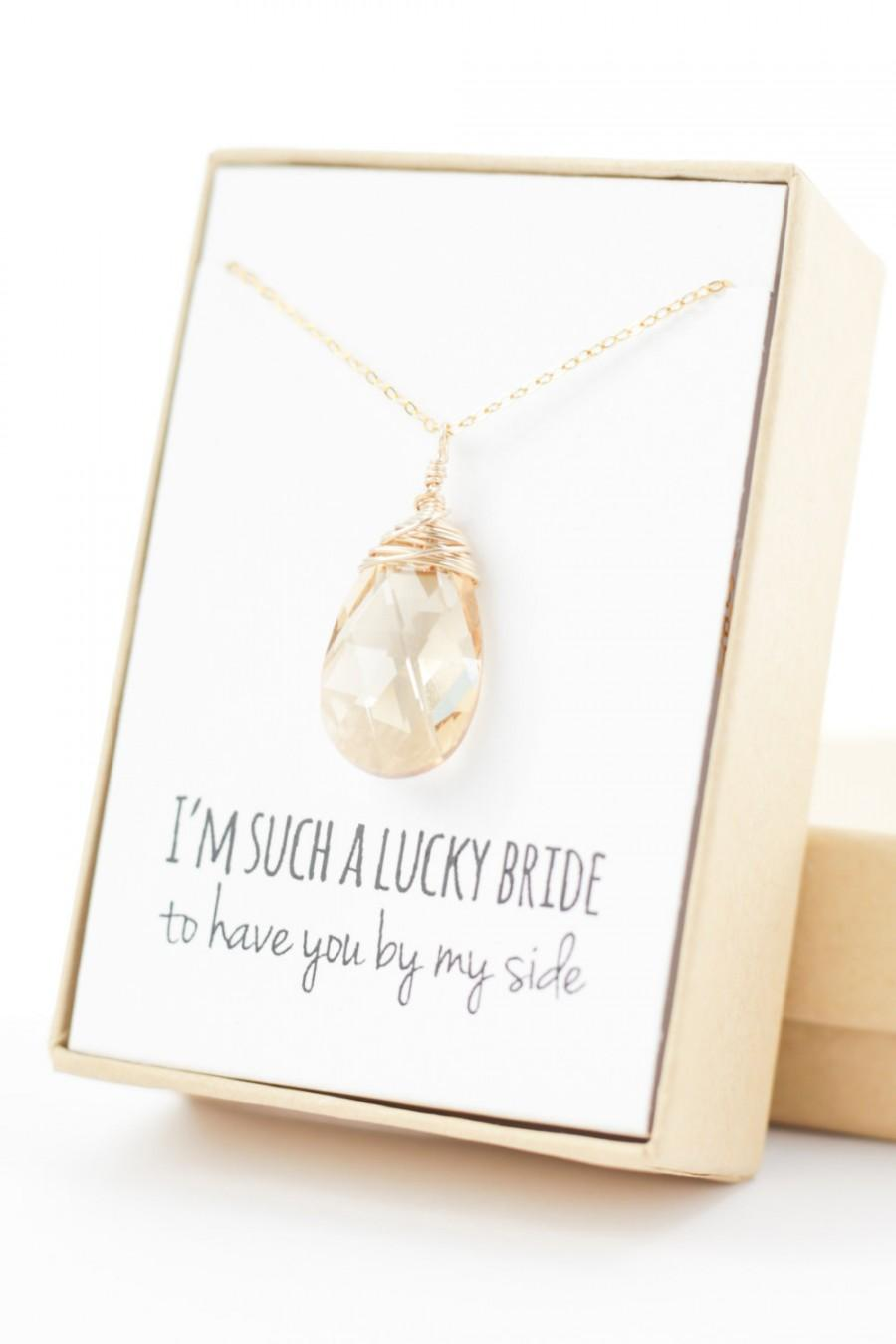 Hochzeit - Champagne Gold Swarovski Necklace - Large Crystal Necklace - Champagne Swarovski Necklace - Wire-Wrapped - Bridesmaid Necklace Gift