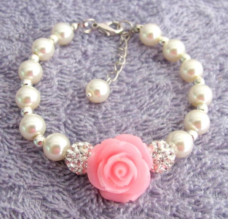 Flower Bracelet Gift Pearl Childrens Childs Kids S Free Shipping In Usa