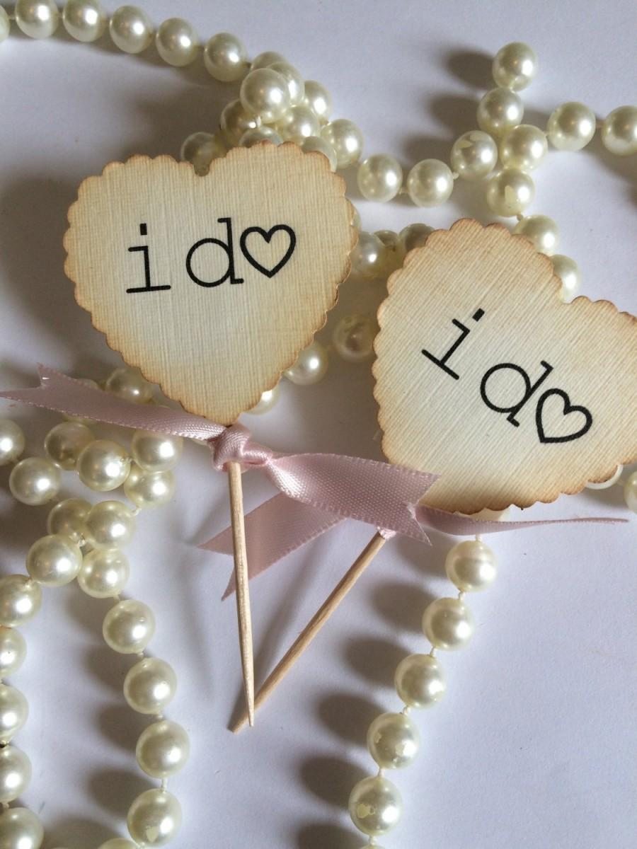 Mariage - I do cupcake toppers picks set of 12