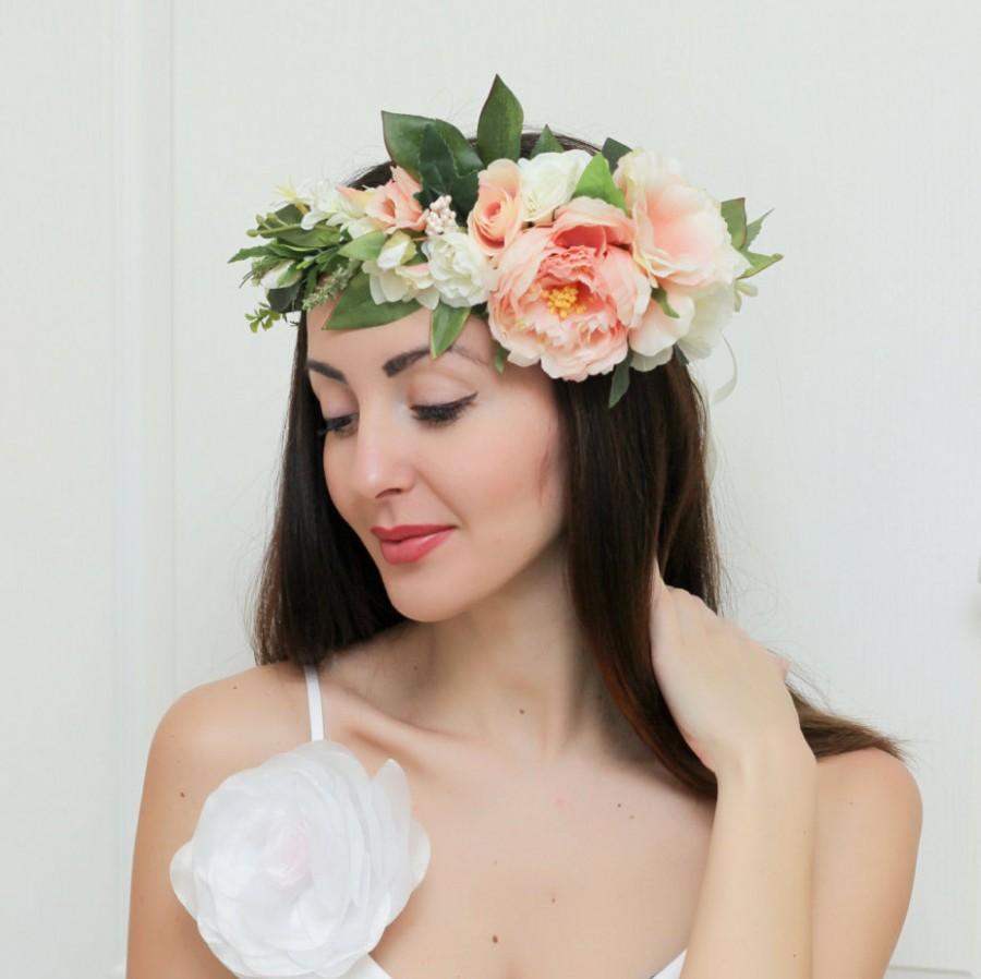 Bridal Floral Crown Summer Flower Crown Wedding Floral Crown Rose