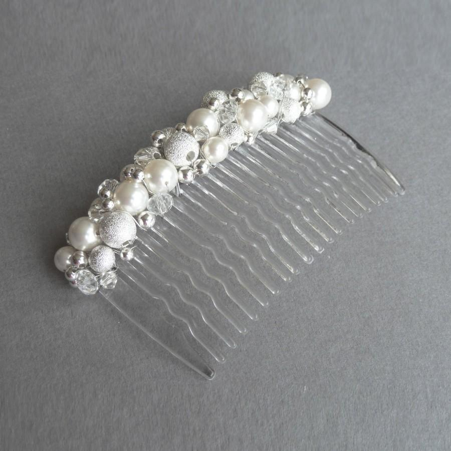 Hochzeit - White Pearl Stardust Hair Comb - Ivory Swarovski Pearl Hair Accessories - Pearl and Crystal Wedding Fascinator - Pearl Bridal Veil Comb